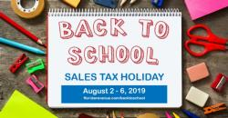 2019 Back-to-School Sales Tax Holiday